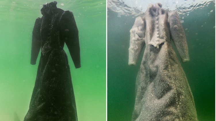 A black dress left in the Dead Sea by Sigalit Landau slowly crystallized, turning it white