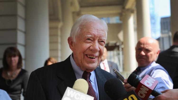 Former US President Jimmy Carter speaks to the media on April 10, 2013 in New York City