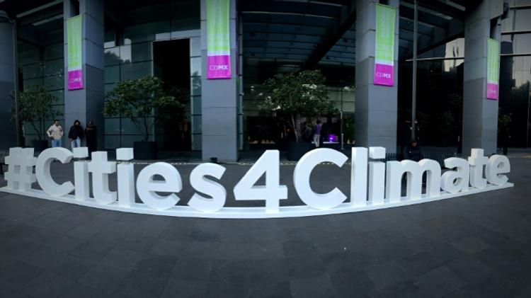 Photo du logo du sommet C40 à Mexico le 1er décembre 2016-