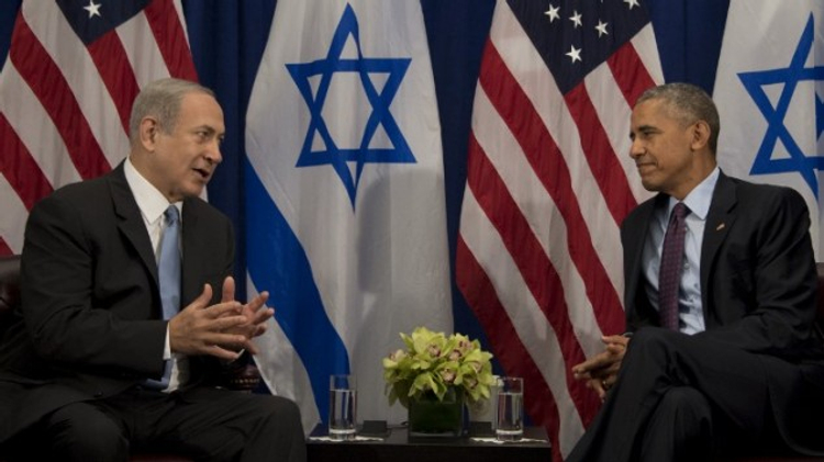 US President Barack Obama, right, talks with Israeli Prime Minister Benjamin Netanyahu during a bilateral meeting in New York, September 21, 2016