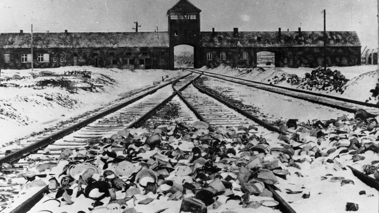 Entrance to Auschwitz-Birkenau, 1945