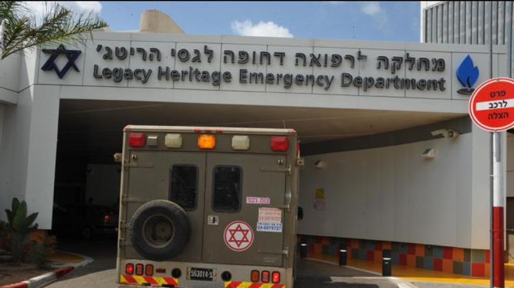 A military ambulance brings Syrian patients to a hospital in the Israeli beachside town of Nahariya.