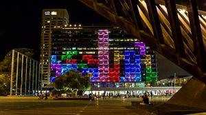 La mairie de Tel Aviv transformée en Tetris géant
