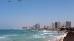 Israeli Independence Day fly by air show in Tel Aviv