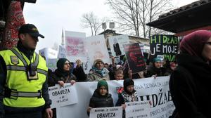 تظاهرة في البوسنة ضد حظر الحجاب في المؤسسات القضائية