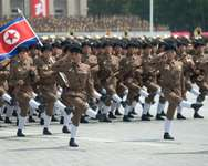 North Korean soldiers march during a military parade at Kim Il-Sung Square, marking the 60th anniversary of the Korean war armistice, in Pyongyang, in July 2013 ( Ed Jones (AFP/File) )