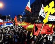 Manifestation en faveur du gouvernement à Skopje en Macédoine, le 18 mai 2015 ( Robert Atanasovski (AFP) )