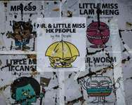 Posters inspired by Mr Men & Little Miss children series are displayed at the main protest site in the Admiralty district of Hong Kong, on October 23, 2014 ( Philippe Lopez (AFP) )