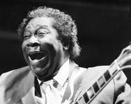 """B.B. King, pictured in 1985 at the Nice Jazz Festival, made his first six singles in 1949, and two years later hit paydirt with """"Three O'Clock Blues,"""" which topped on the rhythm and blues charts for 15 weeks ( Ralph Gatti (AFP/File) )"""