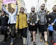 Men wearing skirts demonstrate in Istanbul against violence against women, Feb. 20, 2015 ( AFP )