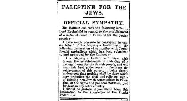 Balfour Declaration in the The Times of London, November 9, 1917 ( Wikipedia )