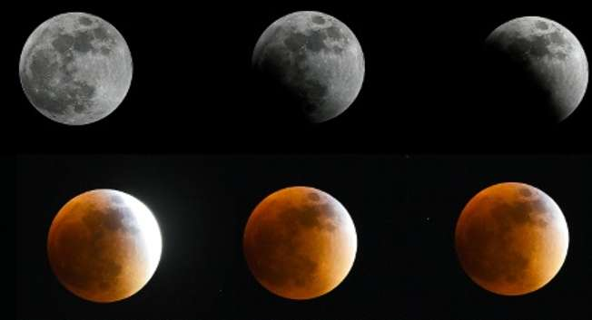 The moon in various stages of a total lunar eclipse as seen from Bogota, Colombia, on September 27, 2015 ( Luis Acosta (AFP) )