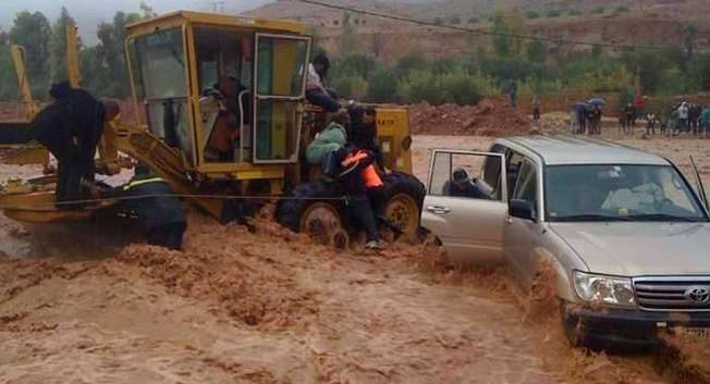 The flash floods were triggered by heavy rains near the foot of the Anti-Atlas Mountains, in southern Morocco ( AFP )