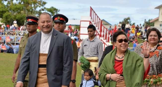 "Tonga's King Tupou VI (L) and Queen Nanasipau'u attend ""Education Day"" at the Teufaiva Stadium during the week-long coronation celebrations in Nuku'alofa on July 1, 2015 ( Pesi Fonua (AFP/File) )"