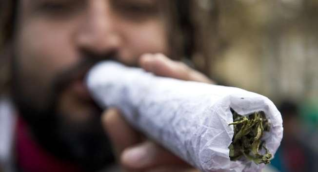 A man holds a giant joint during a march for the legalization of cannabis in Santiago, Chile ( Martin Bernetti (AFP/File) )