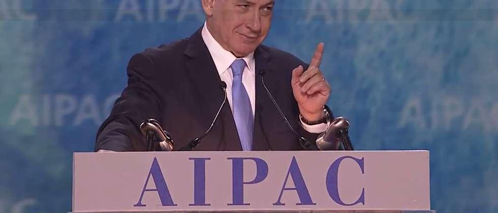 Benjamin Netanyahu at AIPAC on March 2, 2015 ( Screenshot )