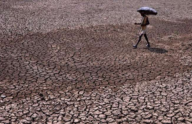 An Indian resident walks across a dried-up pond on the outskirts of eastern Bhubaneswar on May 22, 2015 as soaring temperatures lead to water shortages (Asit Kumar (AFP))