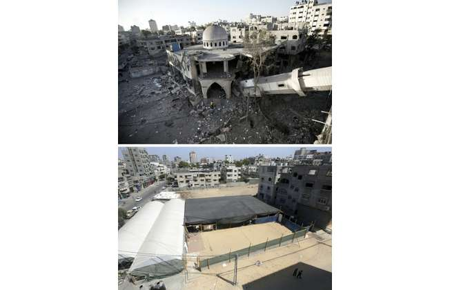(Top) A collapsed minaret of a destroyed mosque in Gaza City on July 30, 2014, and the same place (bottom) on July 3, 2015, a year after the 50-day war between Israel and Hamas' militants ( Mahmud Hams (AFP) )