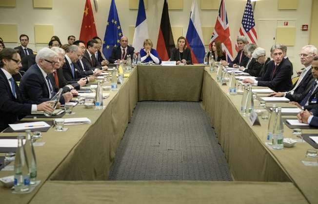 Representatives of European and world powers pictured prior to meeting to pin down a nuclear deal with Iran, at the Beau Rivage Palace Hotel in Lausanne on March 30, 2015 (Brendan Smialowski (Pool/AFP))