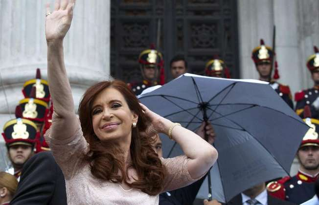 Argentine President Cristina Kirchner waves at supporters at the Congress in Buenos Aires on March 1, 2015 (Alejandro Pagni (AFP))