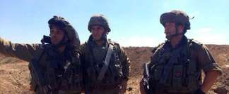 From left: Lt. Col. Liran Hajabi, GOC Southern Command Maj. Gen. Sami Turgeman and Givati Brigade commander Col. Ofer Winter (IDF Spokesperson)