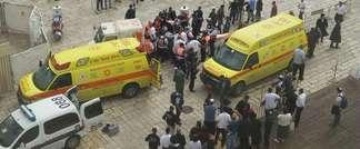 Scene in Jerusalem's Old City after Israeli man stabbed by Palestinian woman, October 7 2015 (Magen David Adom/Twitter)