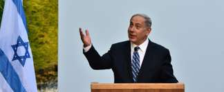 Israeli Prime Minister Benjamin Netanyahu delivers a speech during a visit to the World Expo in Milan on August 27, 2015 (Giuseppe Cacace (AFP))