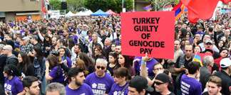 Tens of thousands of protesters take to the streets of Los Angeles on April 24, 2015, to mark the centenary of the massacre of some 1.5 million Armenians by Ottoman forces (Frederic J. Brown (AFP))