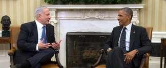 Le président américain Barack Obama (d) avec le Premier ministre israélien Benjamin Netanyahu, à Washington le 1er octobre 2014 (AFP)