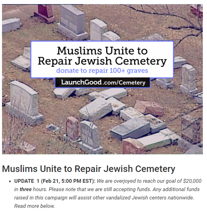 Capture d'écran https://www.launchgood.com/project/muslims_unite_to_repair_jewish_cemetery#/