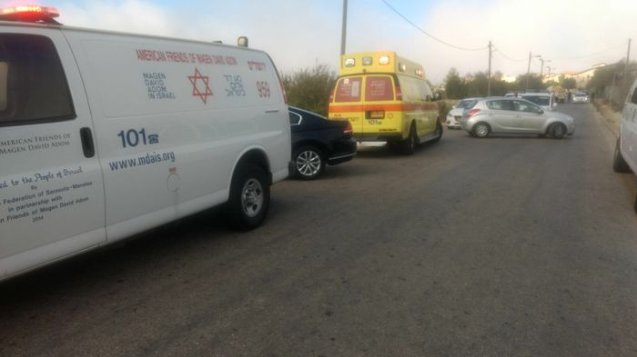 Ambulances respond to the scene of a terror attack at Har Adar settlement near Jerusalem in which three Israelis were