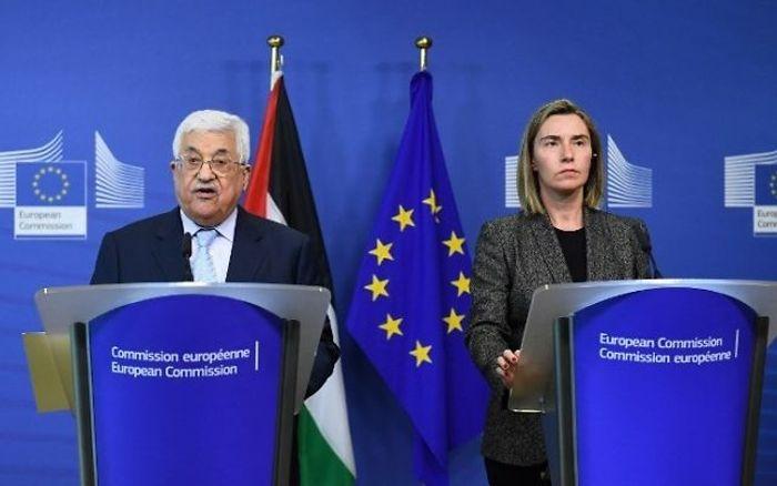 Le président palestinien demande à l'UE de reconnaître l'Etat de Palestine