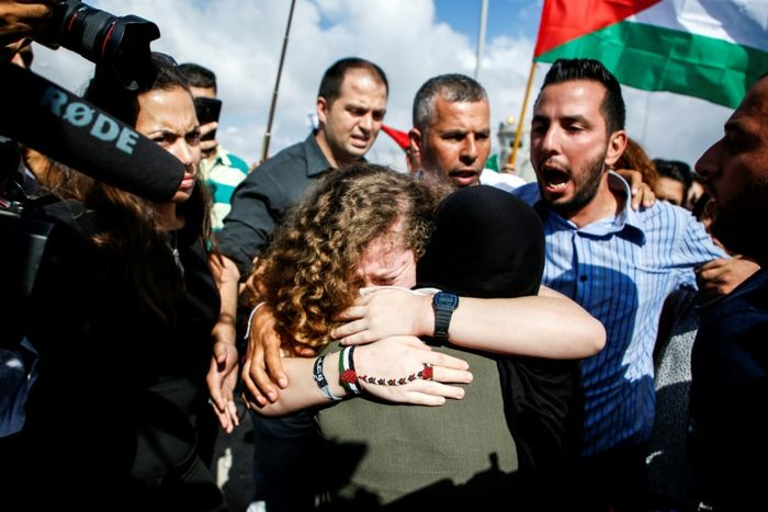 Palestinian teenager Ahed Tamimi returns home