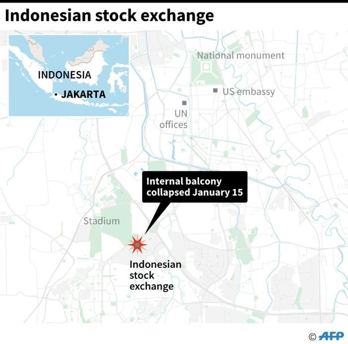 People injured after floor collapses at Indonesia Stock Exchange