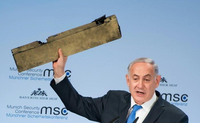 Netanyahu holds up drone piece and warns Iran: 'Do not test Israel'
