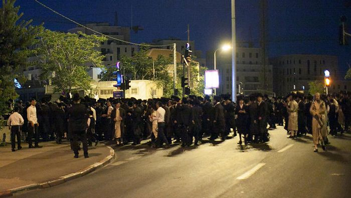 Hundreds of ultra-Orthodox Jews demonstrate in Jerusalem against cinema opening on Shabbat, Friday August 14