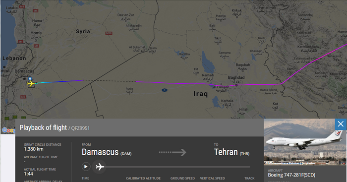 Screenshot from Flightradar24