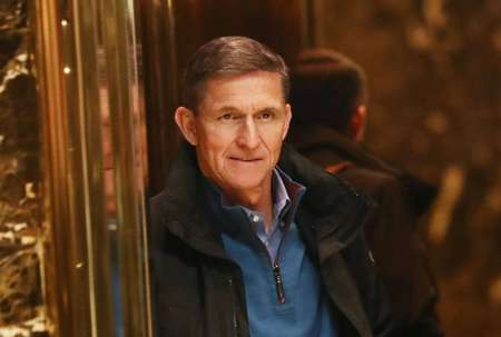 General Mike Flynn, pictured at Trump Tower in November, resigned as US national security advisor over his contacts with the Russian envoy to Washington ( SPENCER PLATT (GETTY IMAGES NORTH AMERICA/AFP/File) )