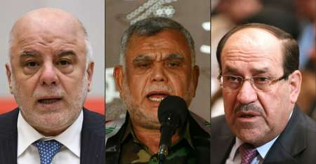 The vote will pit Iraq's Prime Minister Haider al-Abadi (L) against Hadi al-Amiri (C), head of the Hashed al-Shaabi paramilitary coalition, and former premier Nuri al-Maliki (R) ( Kazuhiro NOGI, HAIDAR HAMDANI, HADI MIZBAN (AFP) )