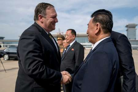 US Secretary of State Mike Pompeo says goodbye to Kim Yong Chol (R), North Korean senior ruling party official and former intelligence chief, before boarding his plane at Sunan International Airport in Pyongyang in July 2018 ( Andrew Harnik (POOL/AFP/File) )