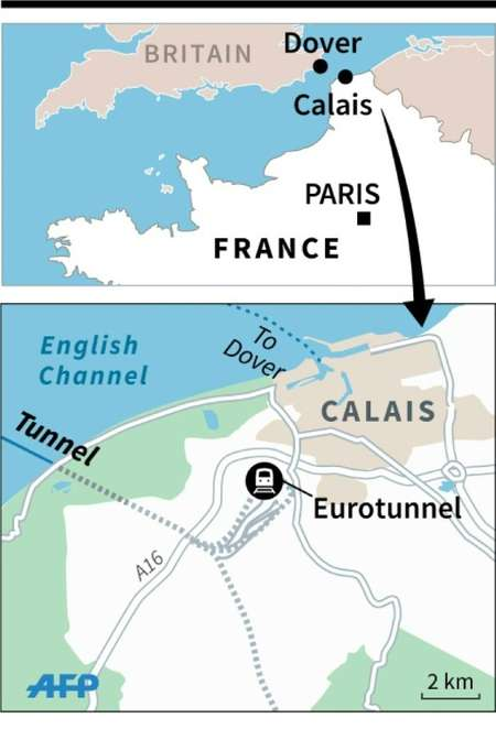 Map locating the Eurotunnel terminal in Calais ( AFP )
