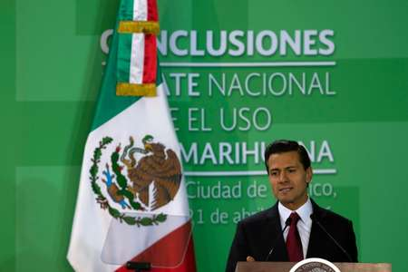 Mexican President Enrique Pena Nieto announces he is sending to Congress a bill to legalize medical marijuana, in Mexico City, on April 21, 2016 ( AFP )