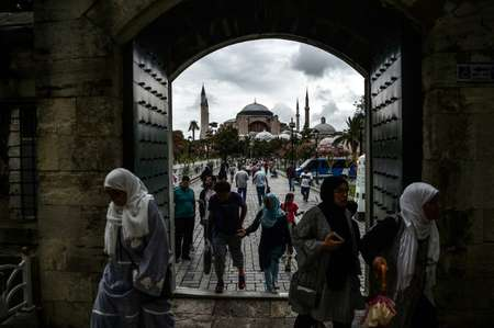 Athens is unhappy over Turkey's upkeep of Byzantine heritage in Istanbul, the former Constantinople, including the Hagia Sophia (in the background), which is officially a museum but has seen an uptick in Muslim worship in the last years ( OZAN KOSE (AFP/File) )