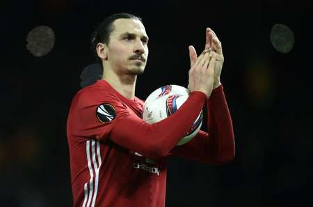 Manchester United striker Zlatan Ibrahimovic scored all of United's goals in their 3-0 win at home to French club St Etienne Thursday ( Oli SCARFF                           (AFP/File) )