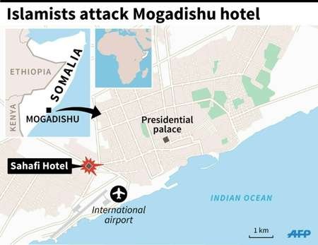 Map of Mogadishu locating the deadly attack on the Sahafi Hotel ( I.Vericourt/J.Jacobsen (AFP) )
