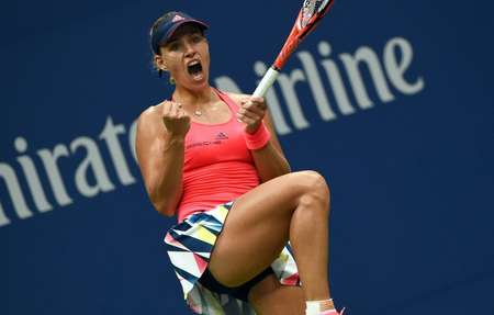 Angelique Kerber of Germany reacts winning a game against Karolina Pliskova of Czech Republic during their 2016 US Open Women's Singles final match on September 10, 2016 ( Timothy A. Clary     (AFP) )