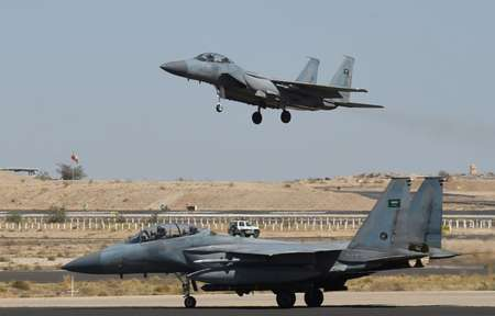 In March 2015, the Saudi-led coalition launched air strikes against Iran-supported Shiite Huthi rebels and their allies after the rebels overran much of Yemen ( Fayez NURELDINE (AFP/File) )