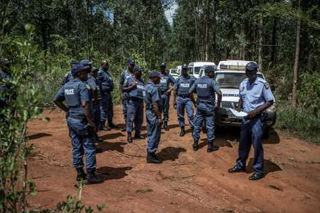 Police respond to an incident in which a farm worker was held at gunpoint and a chainsaw was stolen on November 2, 2017, in Tzaneen, South Africa ( GULSHAN KHAN (AFP) )