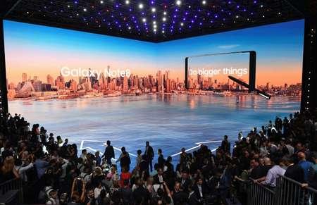 Présentation du nouveau smartphone grand-écran Galaxy Note 8, le 23 août 2017 à New York ( Don Emmert (AFP) )