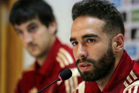 Spain's Dani Carvajal speak during a press conference at the Reino de Leon stadium in Leon, in June 2015, ahead of a friendly match against Costa Rica ( Cesar Manso (AFP/File) )